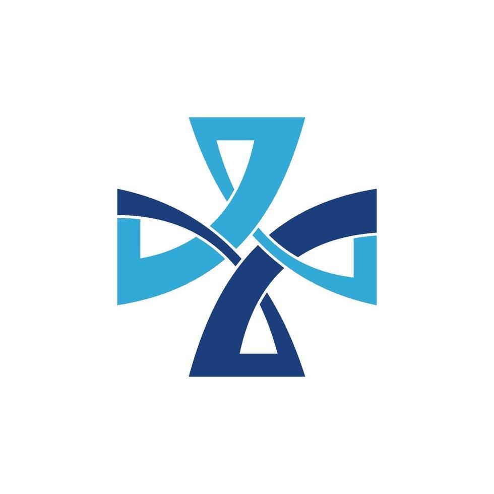 Croix emblème de symbole icône médicale vecteur