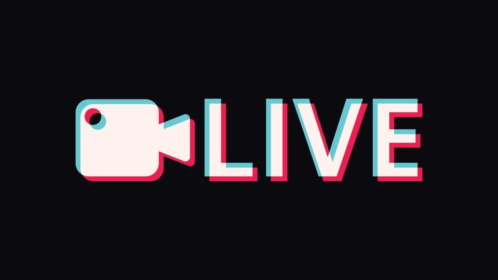 signe et logo en ligne en streaming en direct. conception d'art de texte. illustration vectorielle vecteur