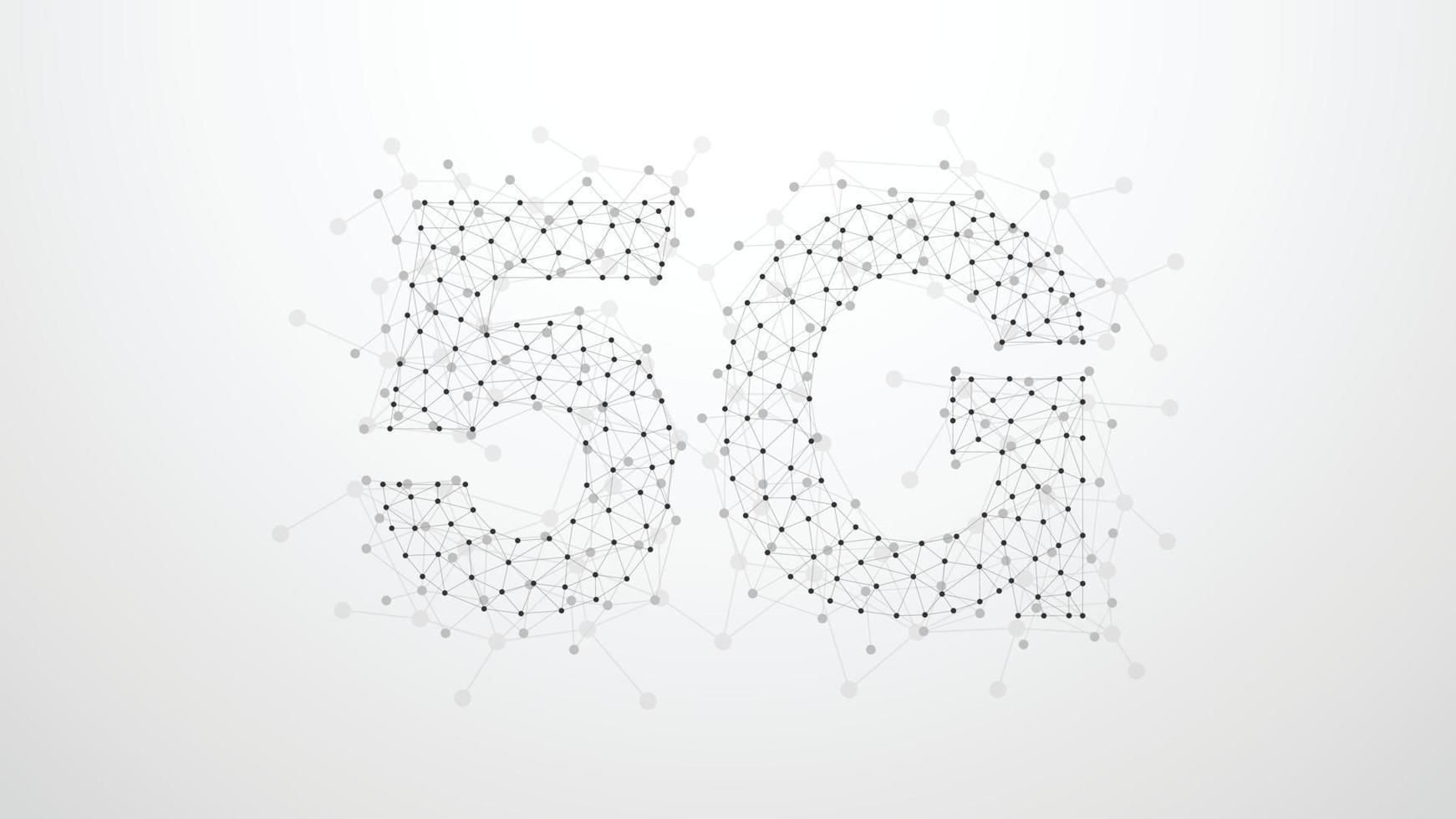 Réseau de points de plexus abstrait 5g. concept de technologie d'entreprise. forme sur fond gris. illustration vectorielle vecteur