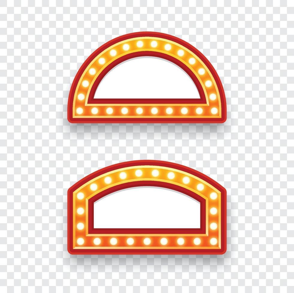 panneau d'affichage d'ampoules électriques. ensemble de cadres lumineux rétro vides pour le texte. illustration vectorielle vecteur