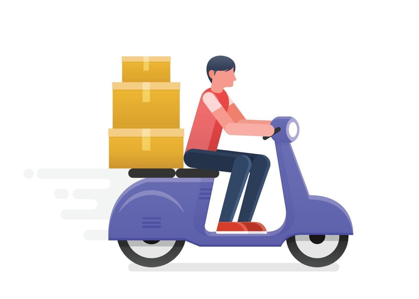 homme de livraison rapide monter la moto. shopping en ligne. illustration vectorielle vecteur