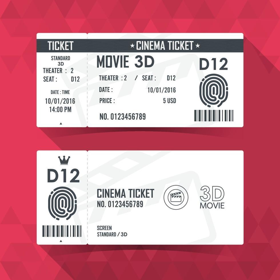 conception d'élément moderne de carte de billet de cinéma. illustration vectorielle vecteur