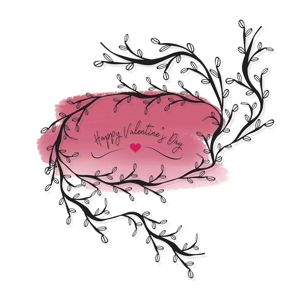 cadre transparent avec mot joyeux Saint Valentin sur fond aquarelle rose vecteur