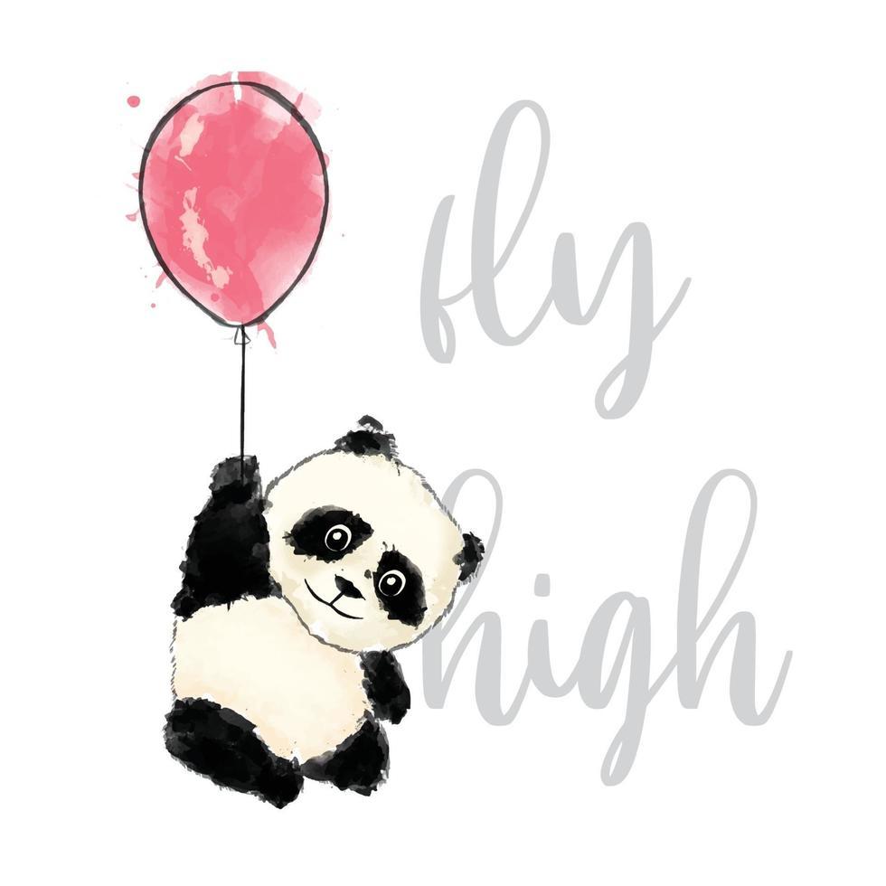 illustration aquarelle de panda haut vol vecteur
