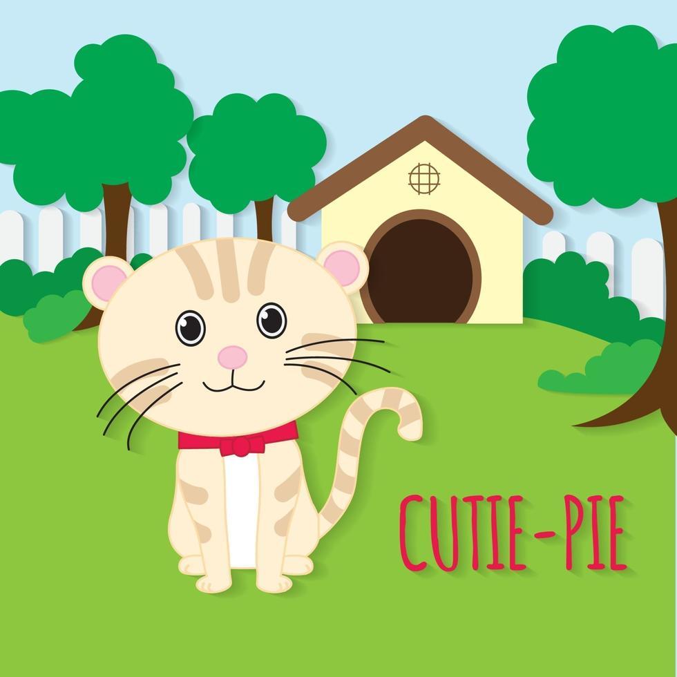 vecteur de coupe de papier de chat mignon