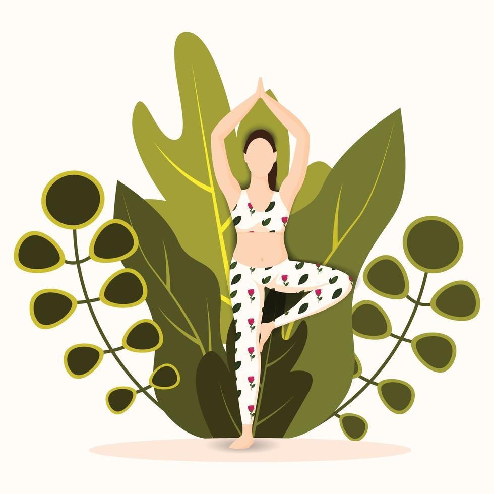 femme, pratiquer, arbre, pose, asana vecteur