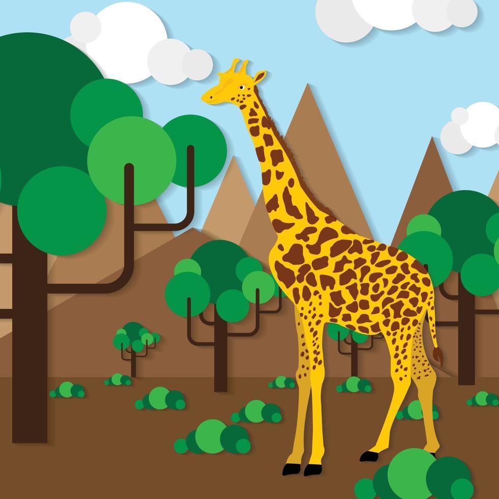 papier girafe coupé vecteur abstrait