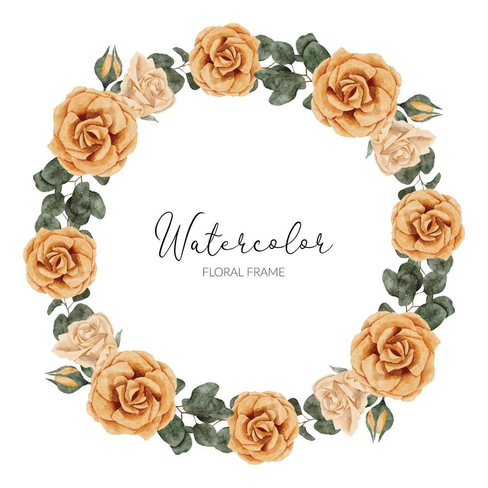 belle couronne de cercle de fleur rose jaune aquarelle vecteur