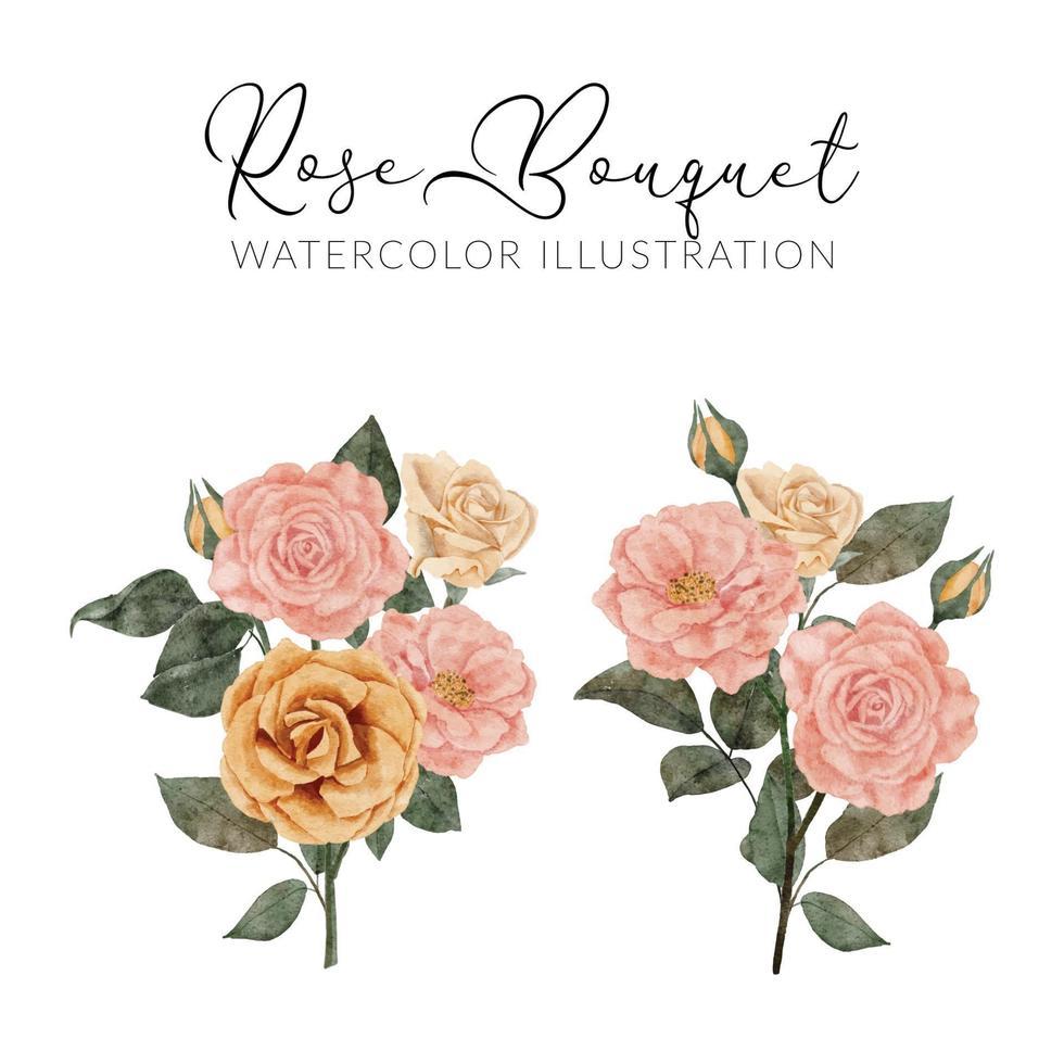 bouquet de fleurs roses aquarelle avec illustration de feuilles vecteur