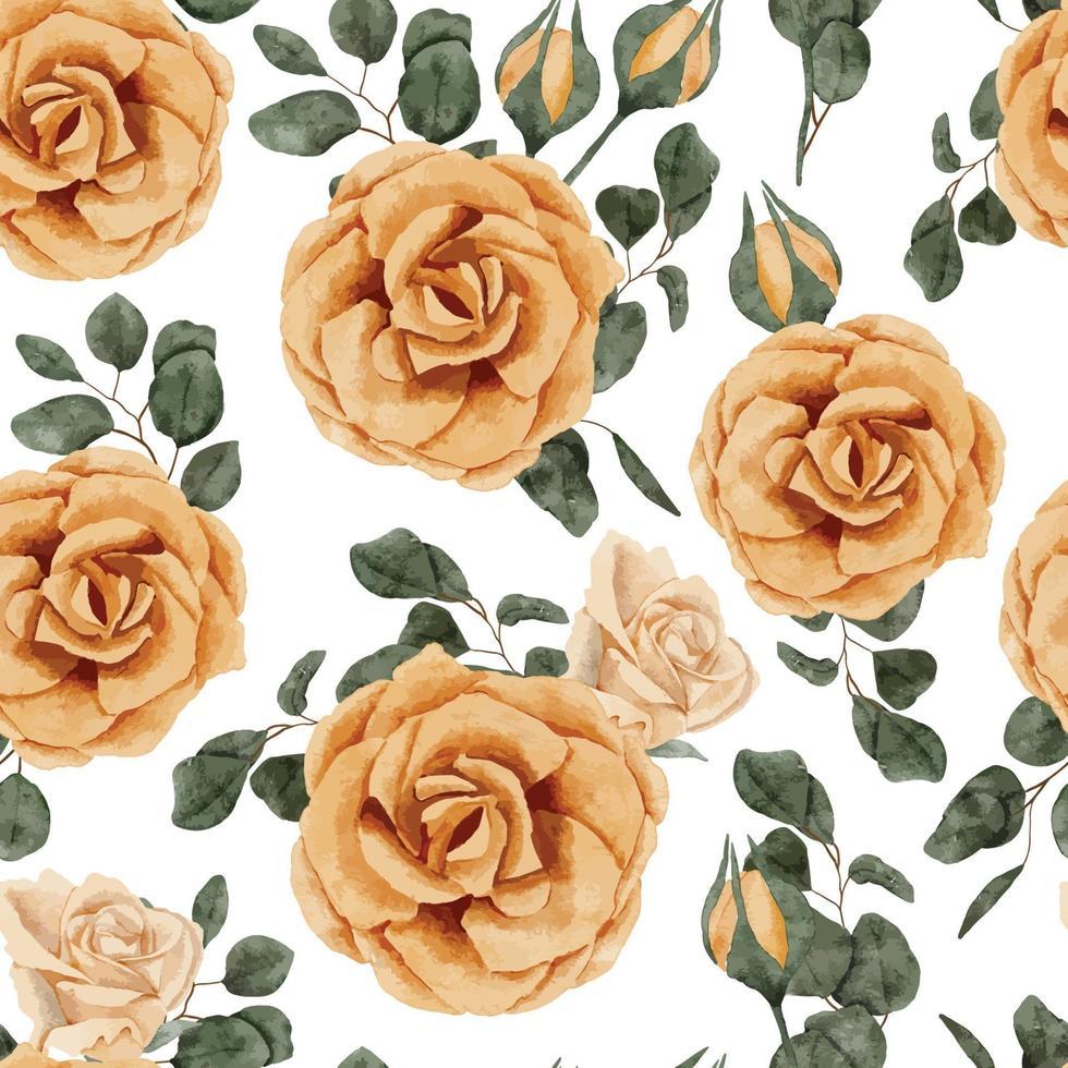 modèle sans couture de bouquet de fleurs rose jaune aquarelle vecteur