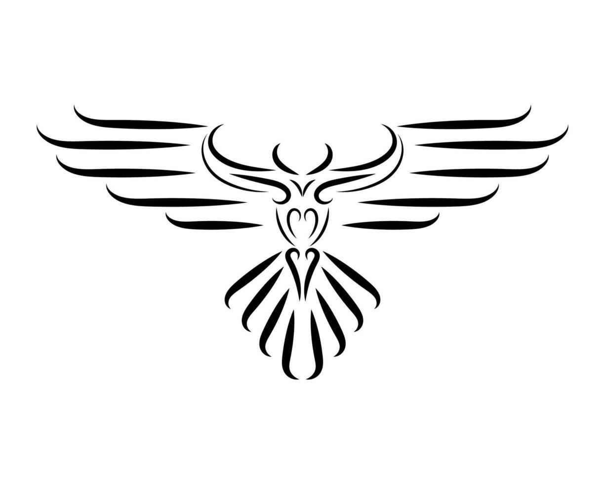 dessin au trait noir et blanc d'aigle avec de belles ailes. vecteur