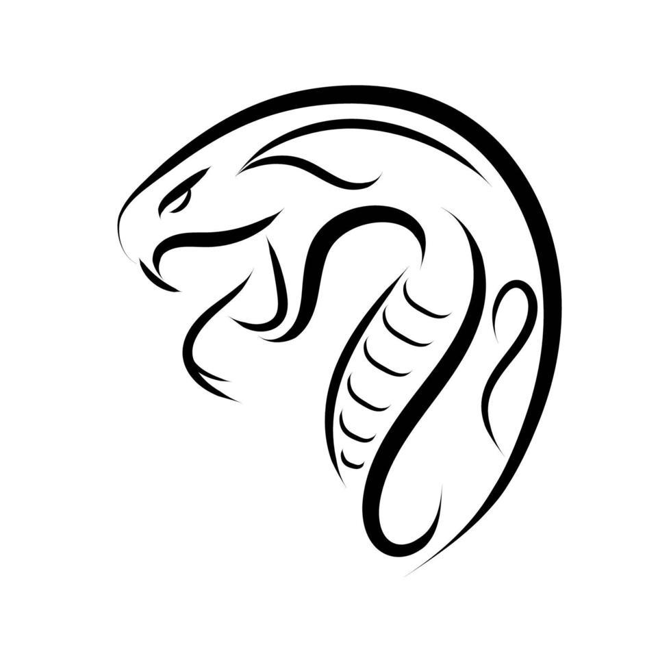 dessin au trait noir et blanc de tête de serpent. vecteur