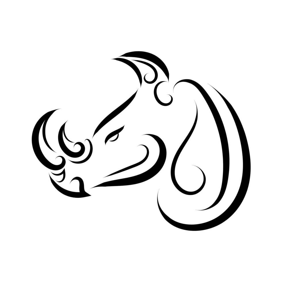 dessin au trait noir et blanc de la tête de rhinocéros. vecteur