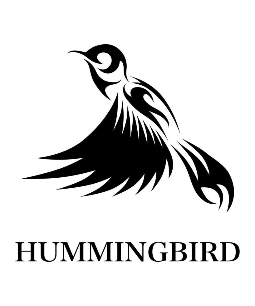 illustration vectorielle de ligne noire art sur fond blanc de colibri volant. convient à la création de logos vecteur