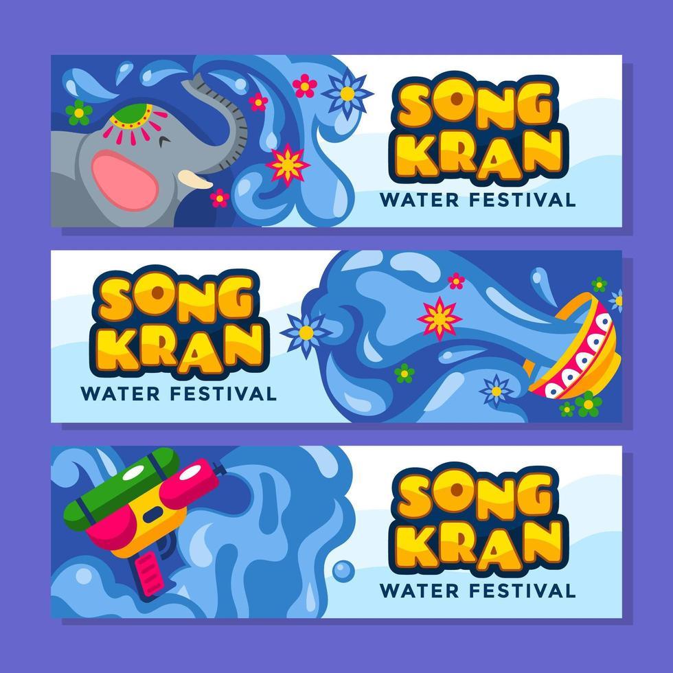 le festival traditionnel amusant et unique de songkran vecteur