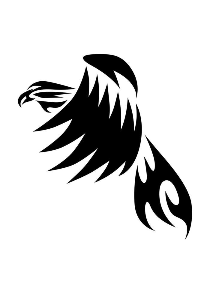 logo vectoriel de dessin au trait d'aigle qui vole.