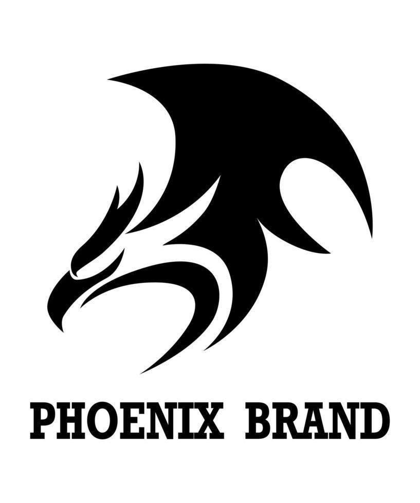logo vectoriel noir du phénix. il montre la puissance et la force.