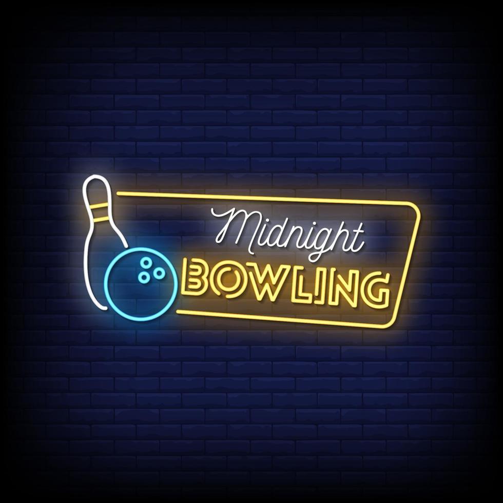 vecteur de texte de style enseignes au néon bowling minuit