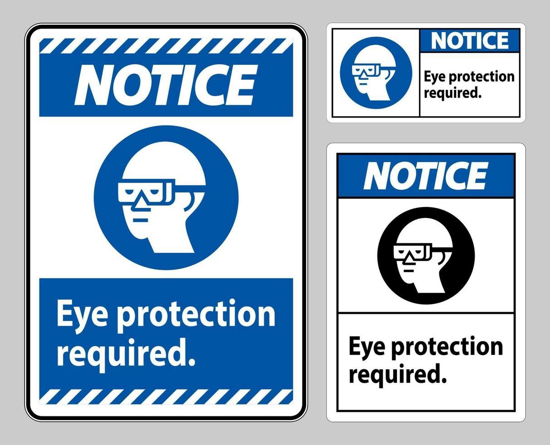 Avis de protection des yeux signe requis sur fond blanc vecteur