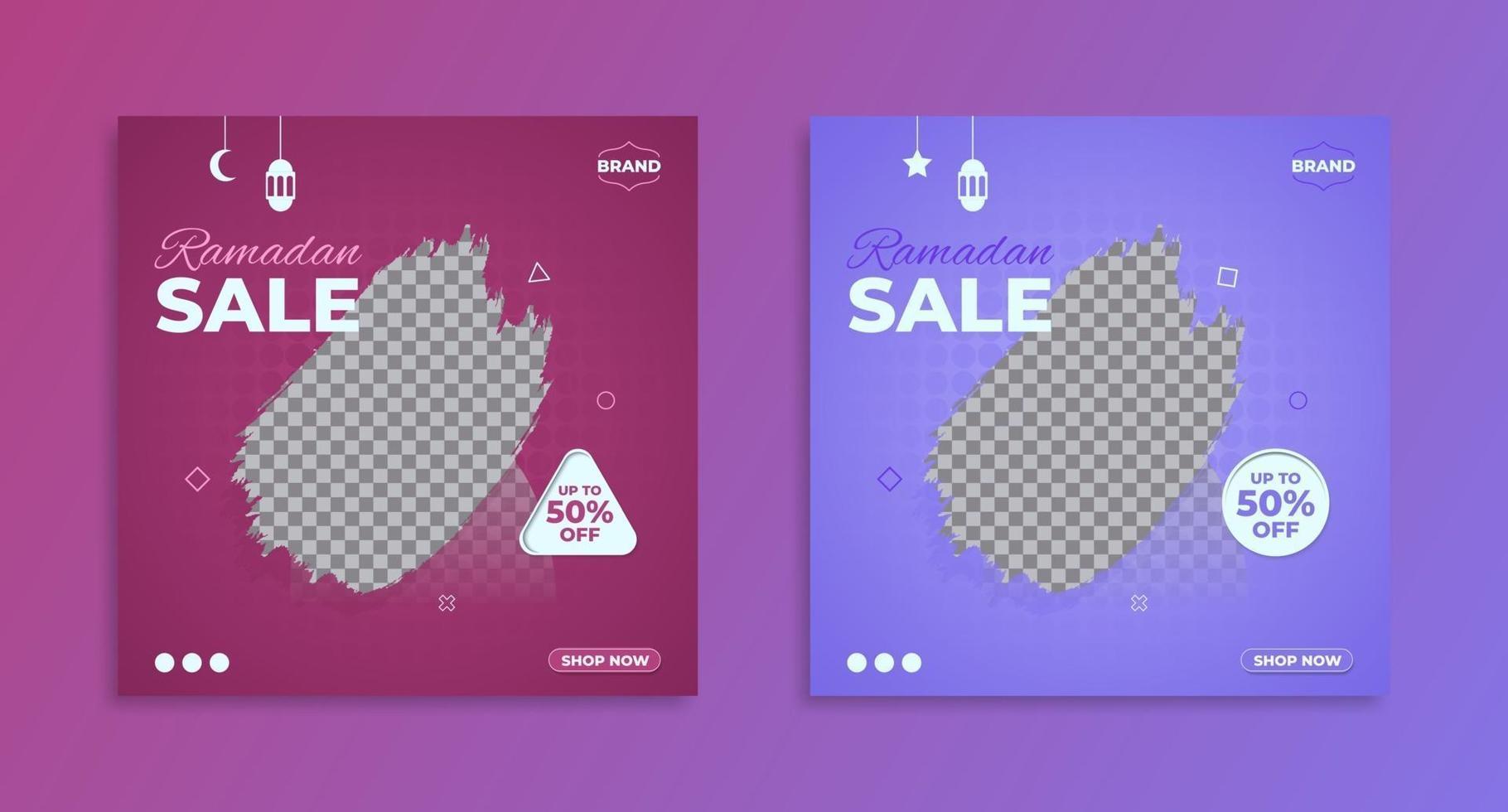modèle de bannière de promotion de vente ramadan violet, bannière de vente et de réduction. vecteur