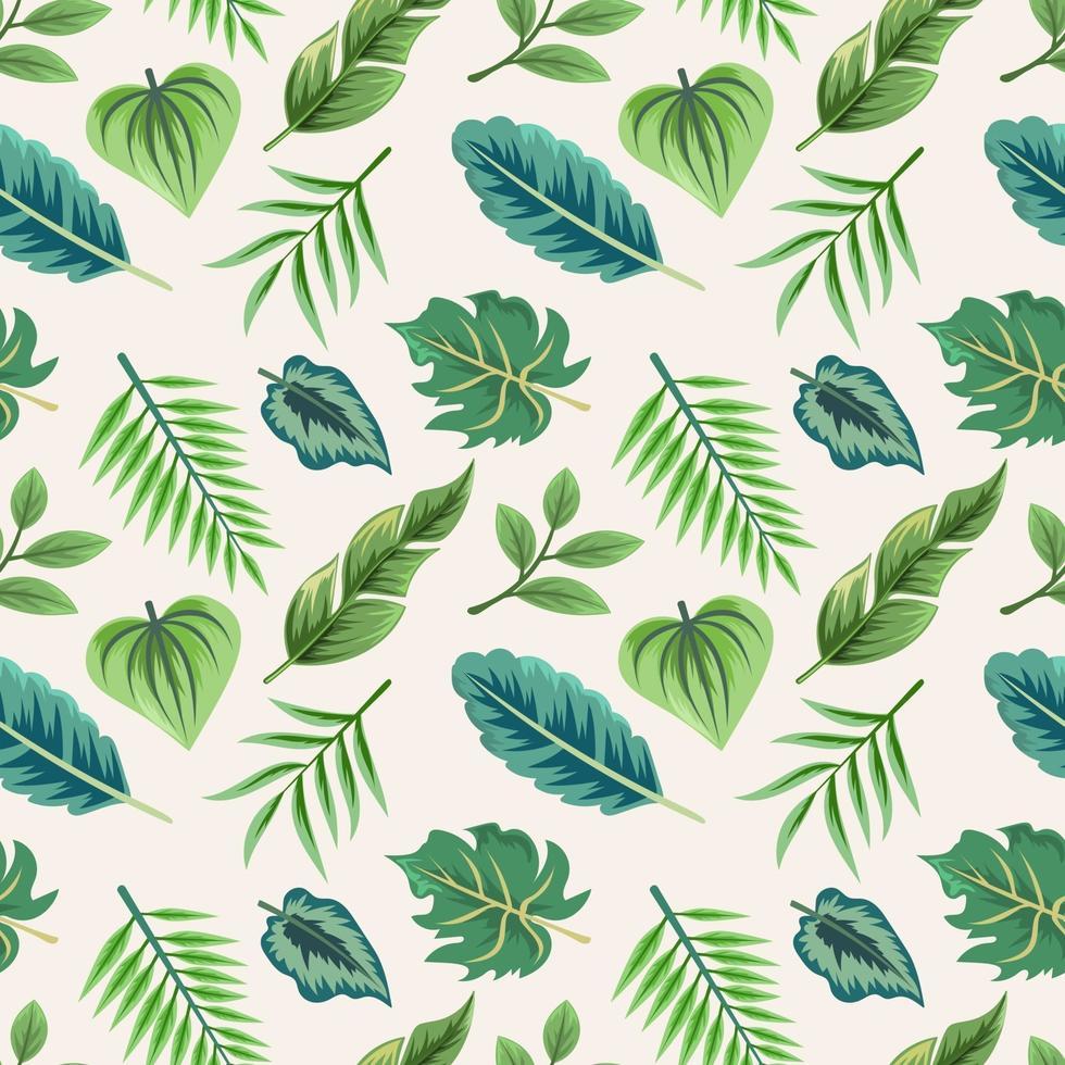 modèle sans couture avec de belles feuilles tropicales exotiques. vecteur