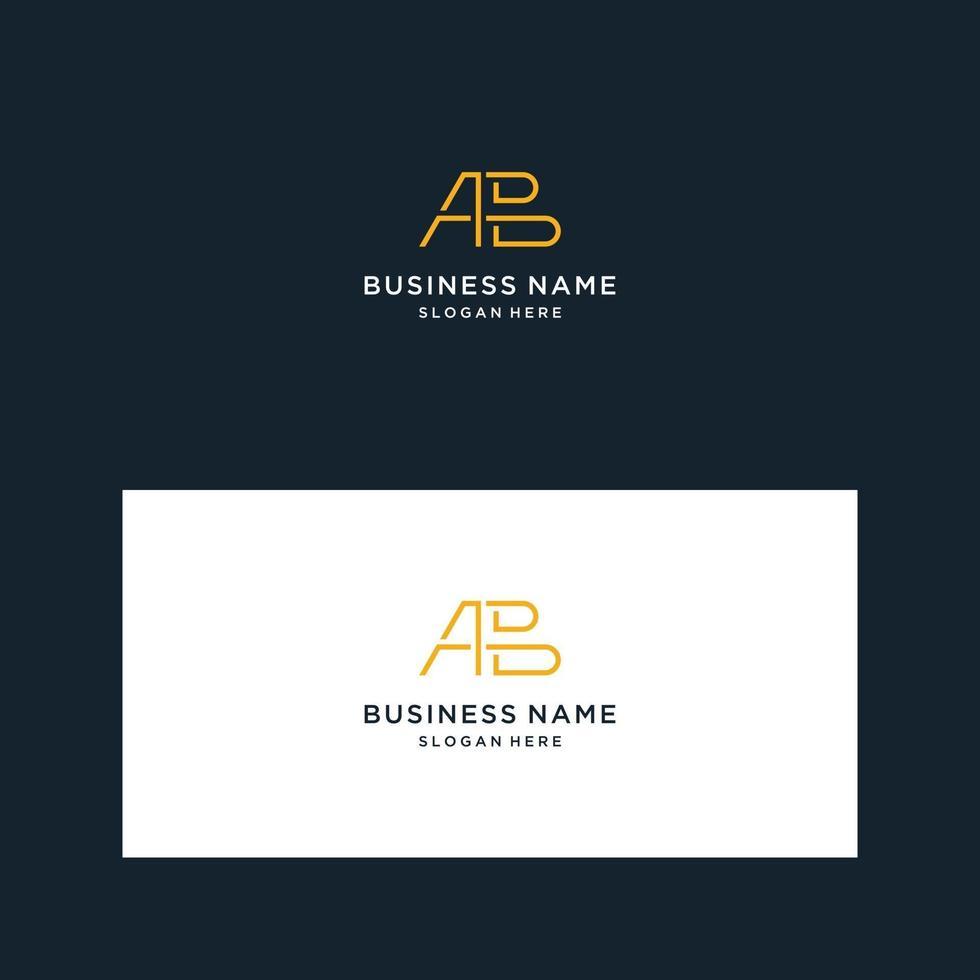 monogramme de conception de logo avec a, b vecteur