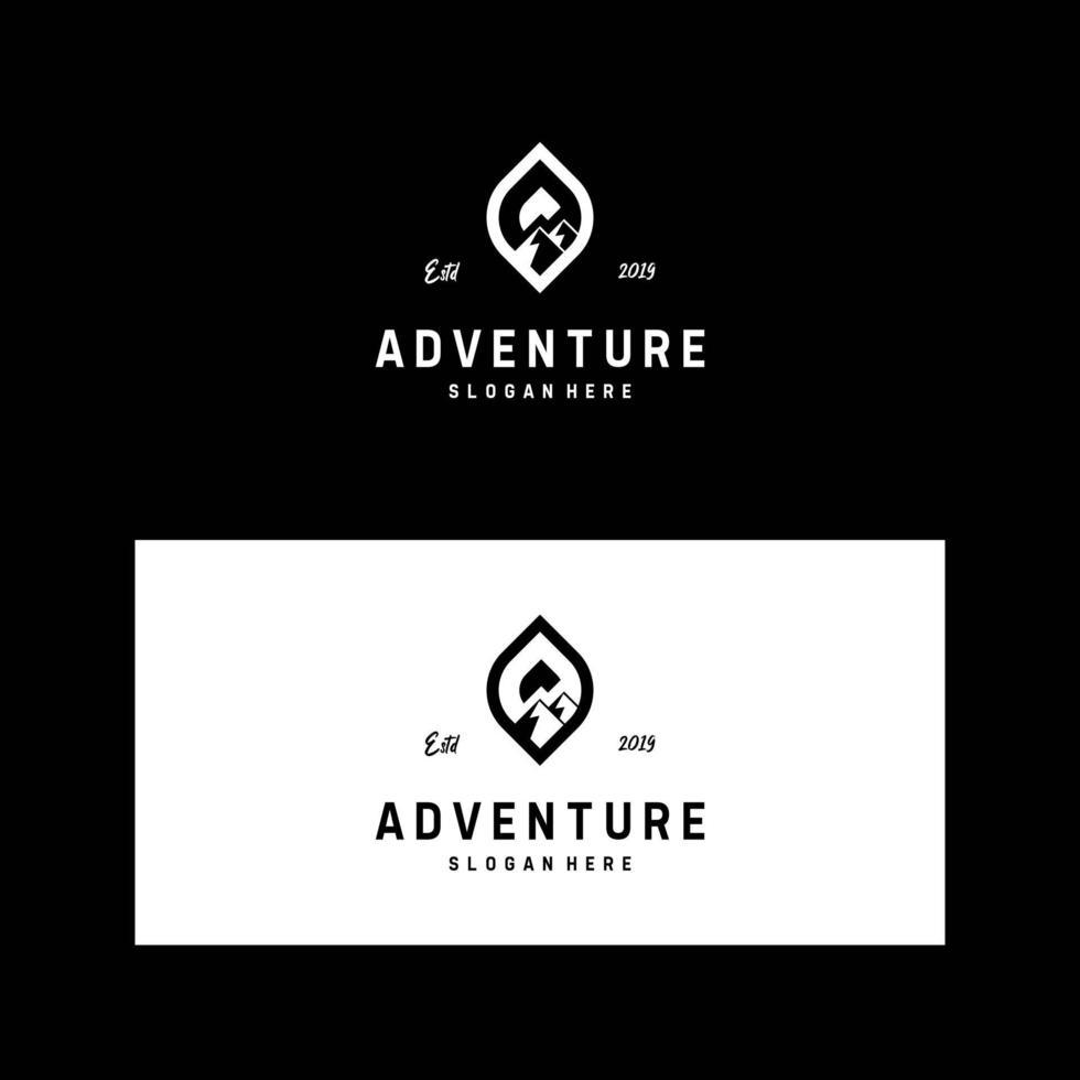 carte de visite et aventure de conception de logo, montagne, thème extérieur vecteur