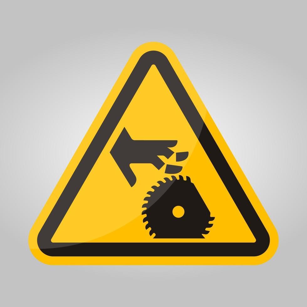coupe des doigts ou signe de symbole de lame rotative à la main, illustration vectorielle, isoler sur l'étiquette de fond blanc .eps10 vecteur