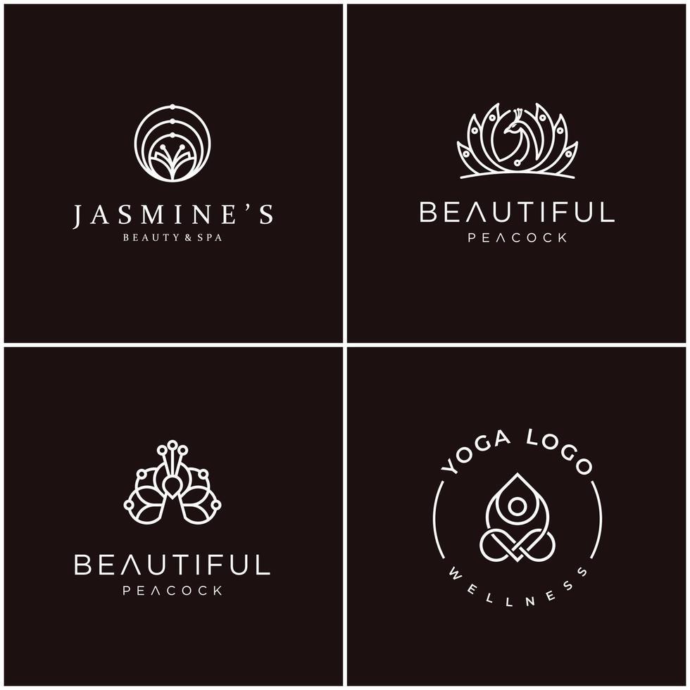 Le lot de conception de logo contour féminin peut être utilisé pour les cosmétiques, les salons de beauté, les spas, le yoga et les soins de la peau. vecteur