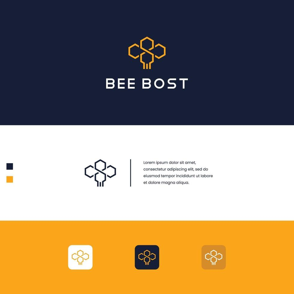 abeille de conception de logo vecteur