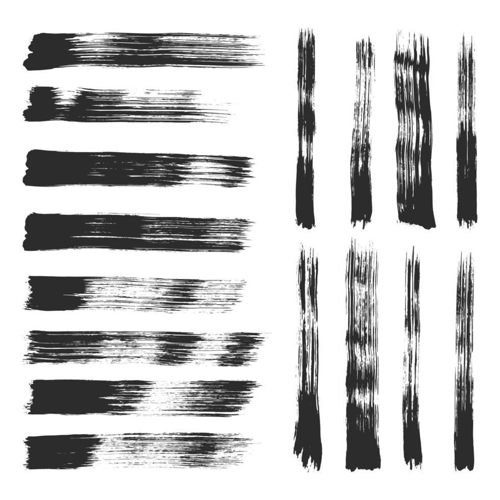 collection de coups de pinceau grunge noir peint à la main. vecteur