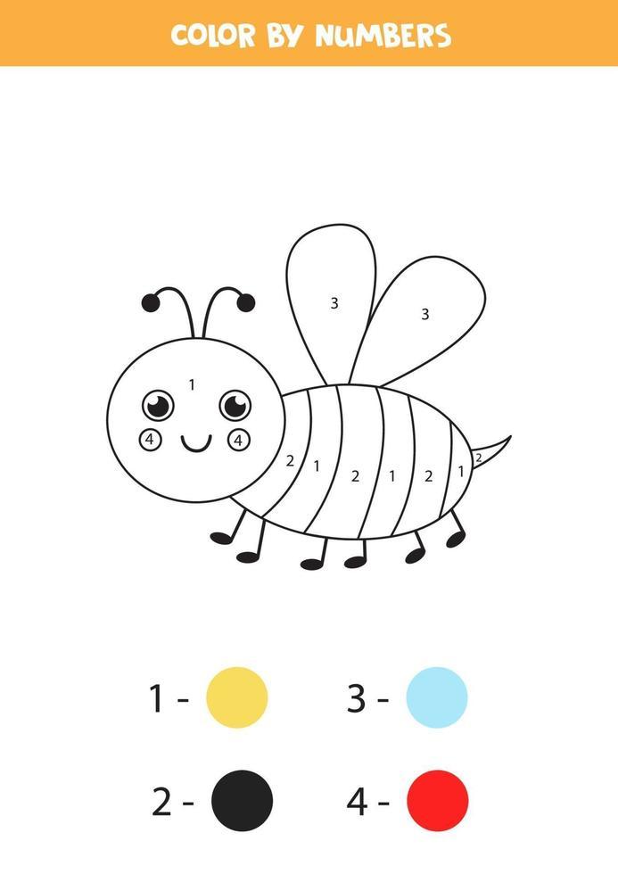 couleur abeille souriante mignonne en chiffres. feuille de calcul pour les enfants. vecteur