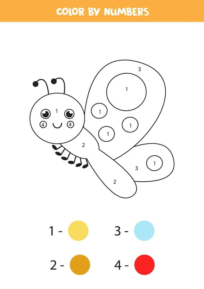 couleur papillon mignon par numéros. feuille de calcul pour les enfants. vecteur