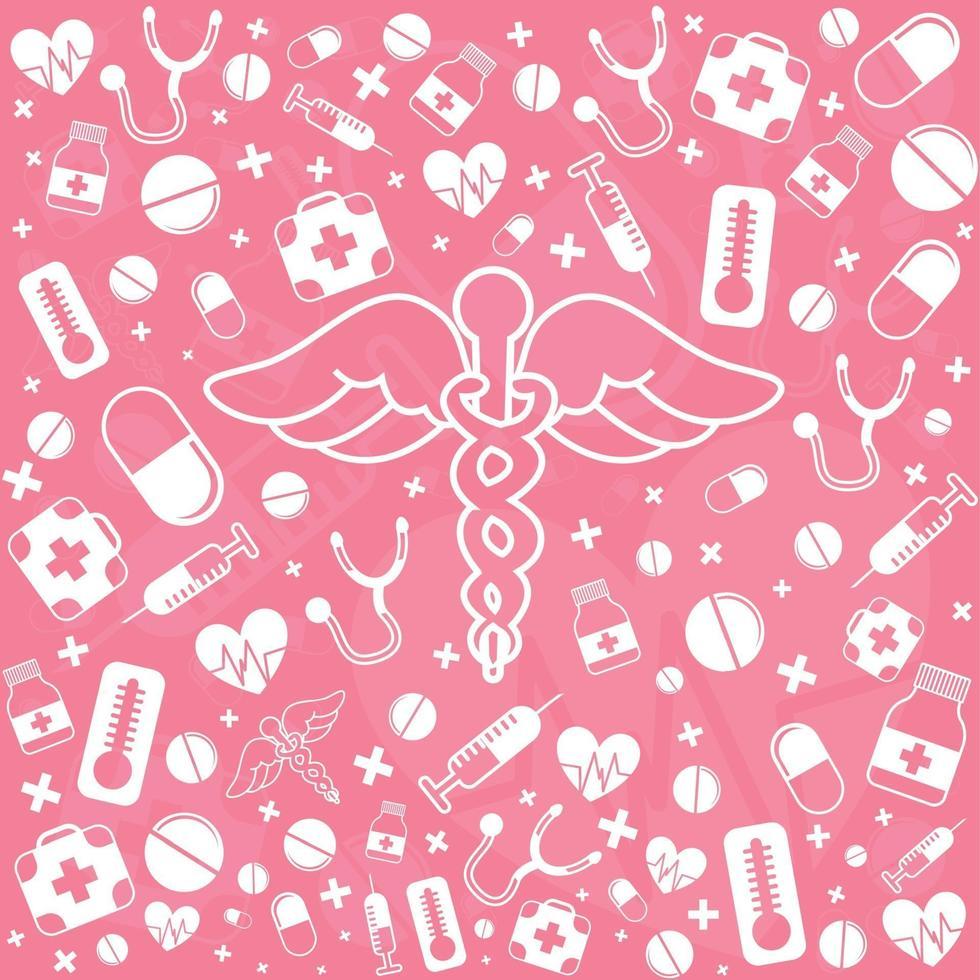 fond panoramique médical avec différents médicaments - vecteur