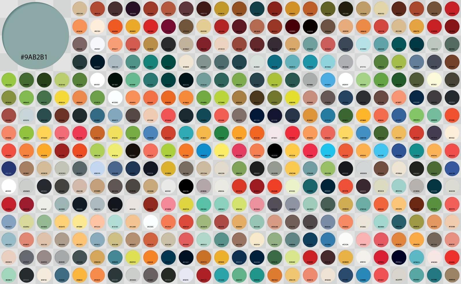pak de nombreuses palettes rondes avec des descriptions numériques - vecteur