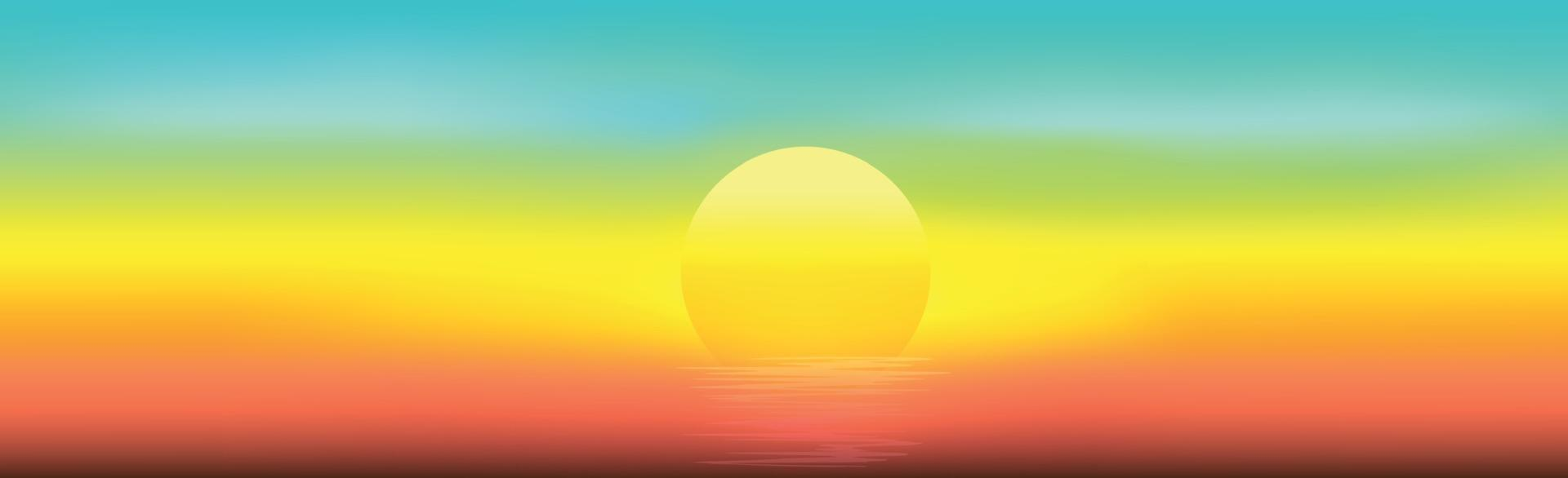 panorama du coucher du soleil et de l'éblouissement sur l'eau - illustration vecteur