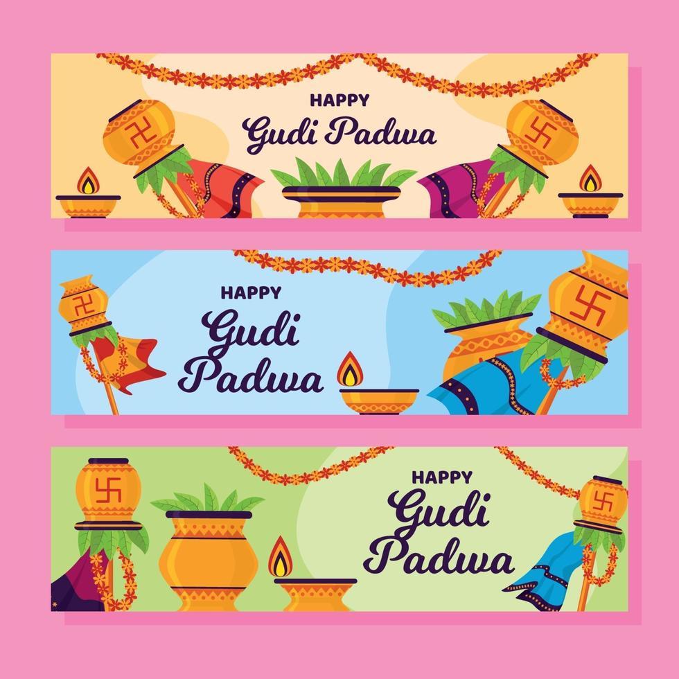ensemble de bannière design plat gudi padwa vecteur