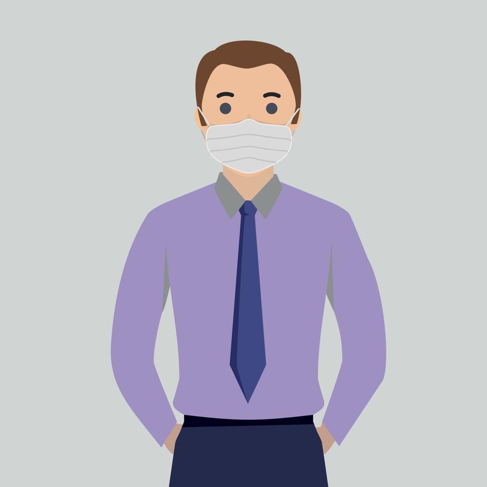 hommes en masque médical stérile - illustration vectorielle vecteur
