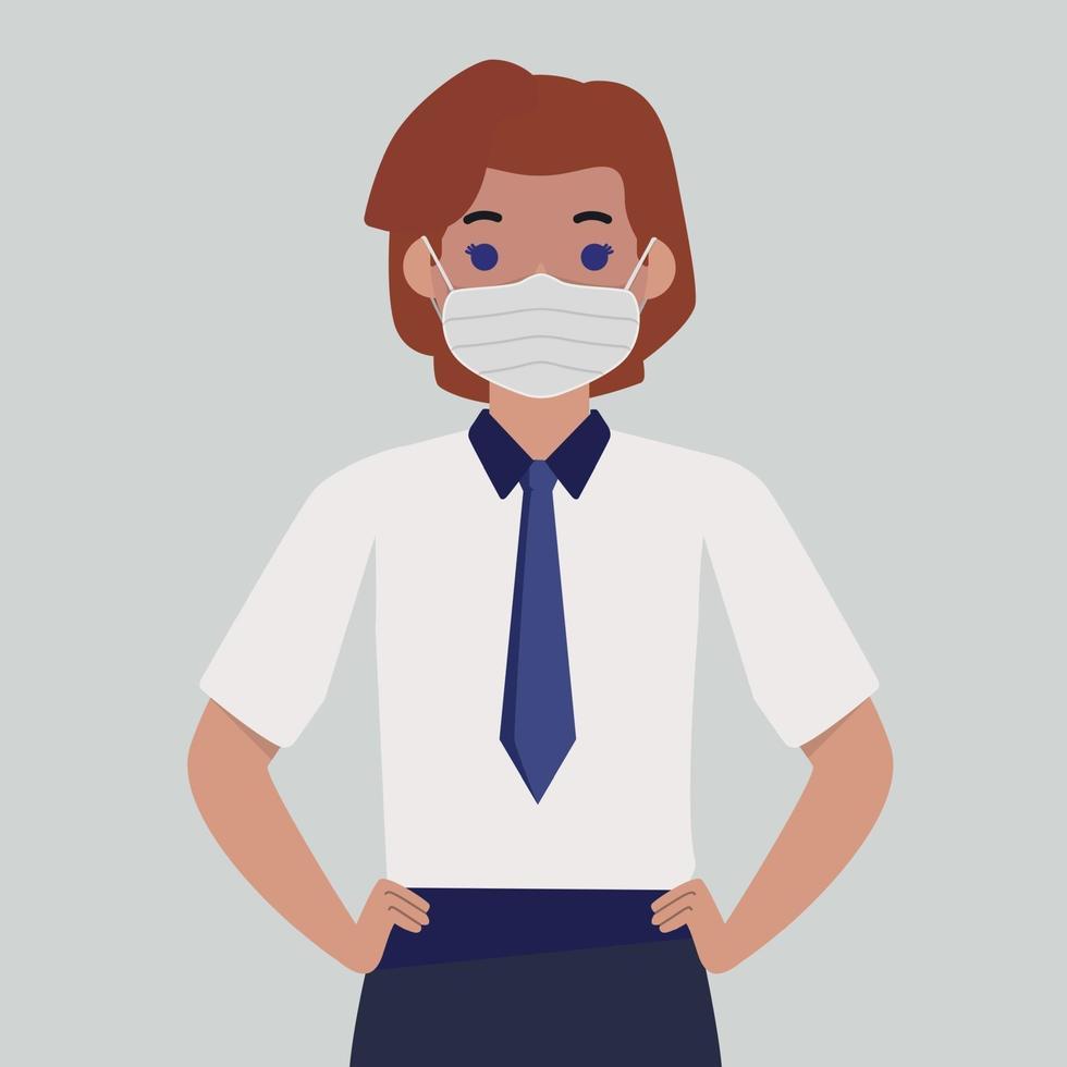 fille dans un masque médical stérile - vecteur