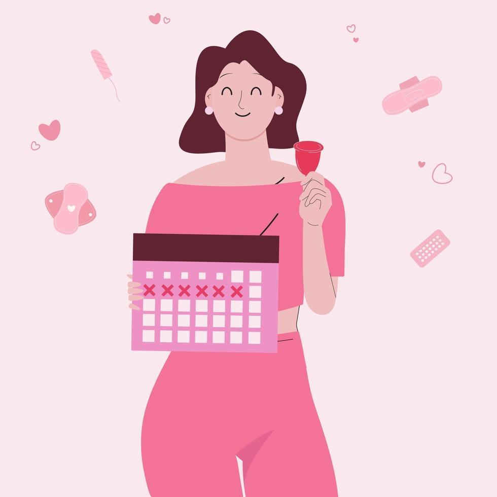 concept de jour de période femme. femme tenant calendrier et coupe menstruelle. vecteur