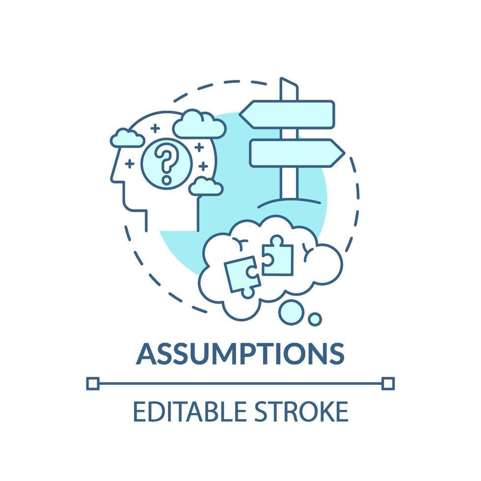 icône de concept bleu hypothèses vecteur