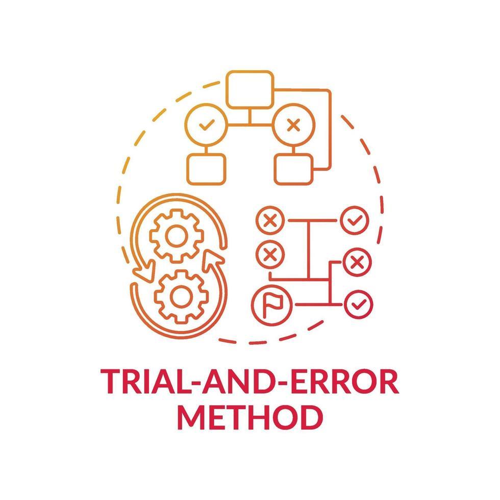 icône de concept de dégradé rouge méthode d'essai et d'erreur vecteur