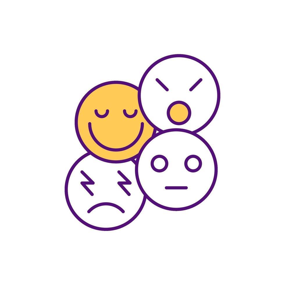 icône de couleur rgb intelligence émotionnelle vecteur