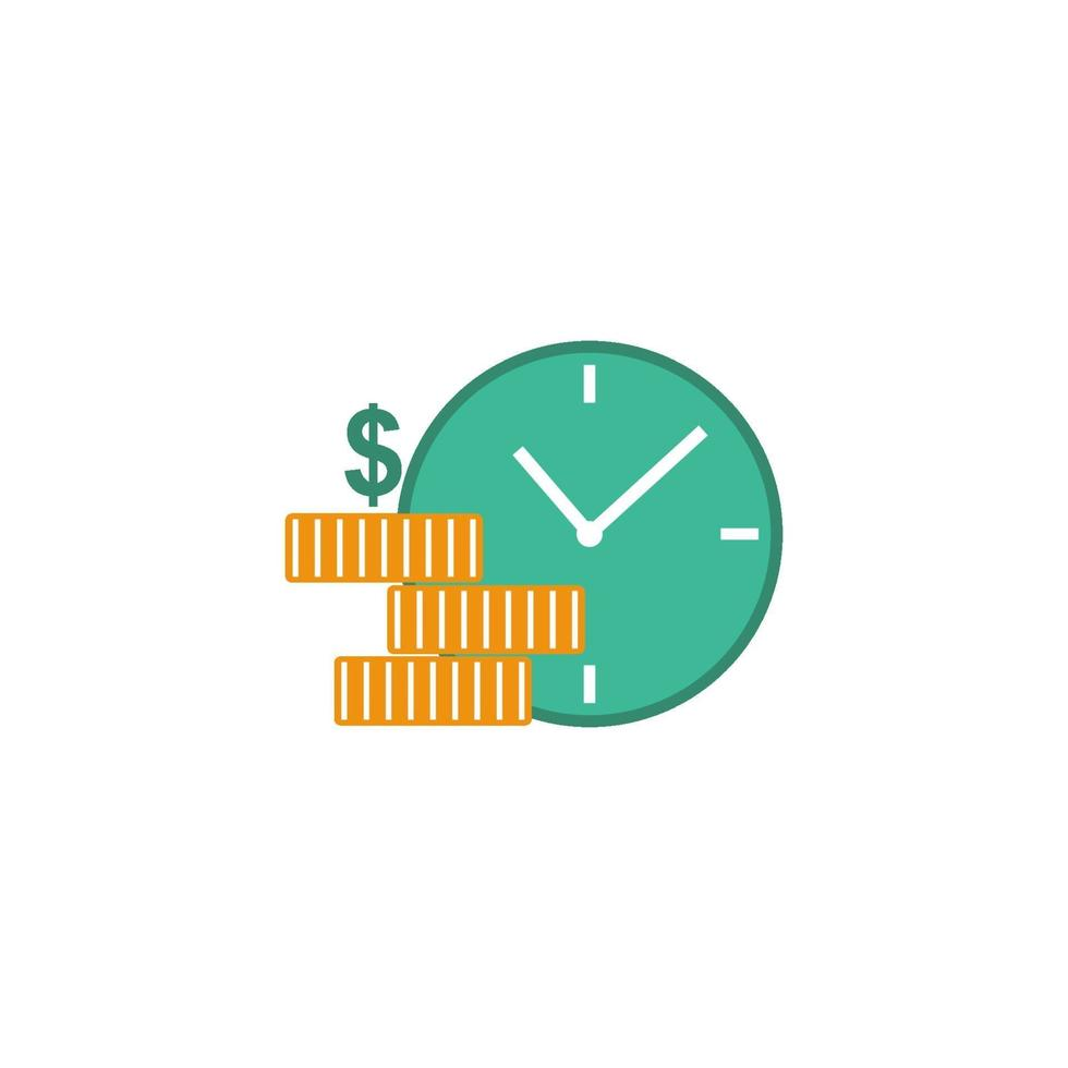 horloge avec des pièces d'or, illustration de vecteur de concept de salaire