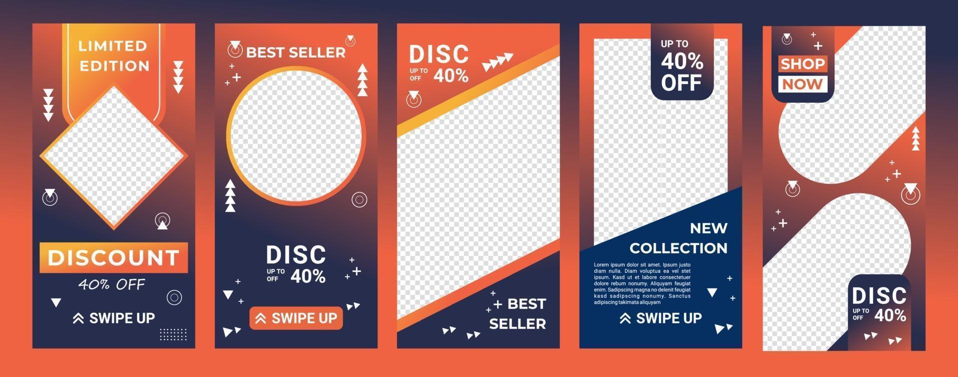 arrière-plans de conception pour les médias sociaux en dégradé de couleur orange et bleu marine. modèle modifiable pour les histoires, les modèles ig et les bannières Web. conception abstraite pour votre produit de vente. illustration vectorielle vecteur