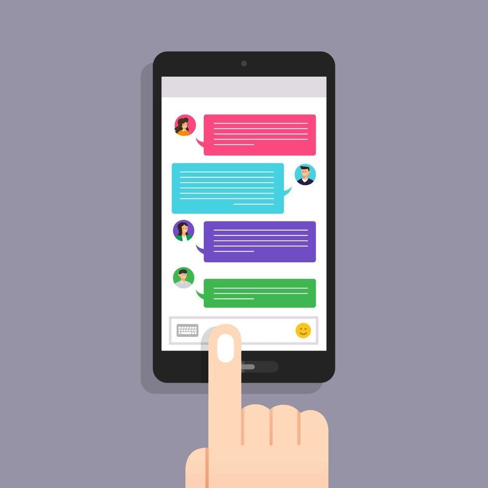 message de concept de design plat et chat. présent par message texte d'icône. vecteur illustrent