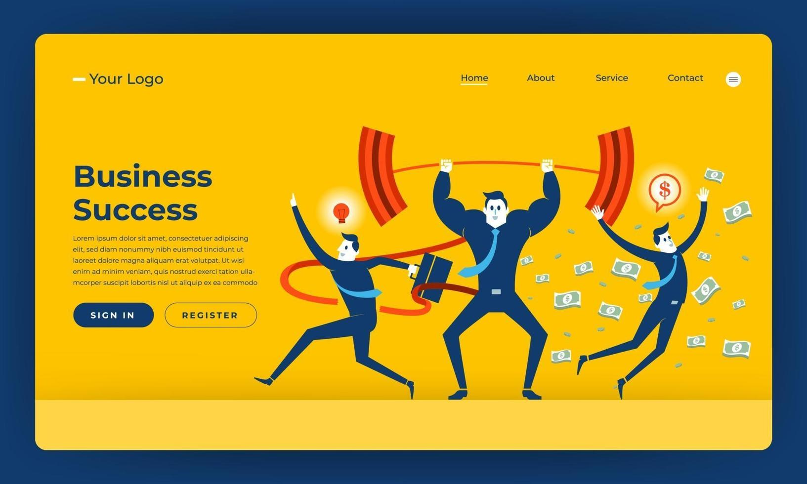 conception de maquette site web design plat concept entreprise succès personnes compétences. illustration vectorielle. vecteur