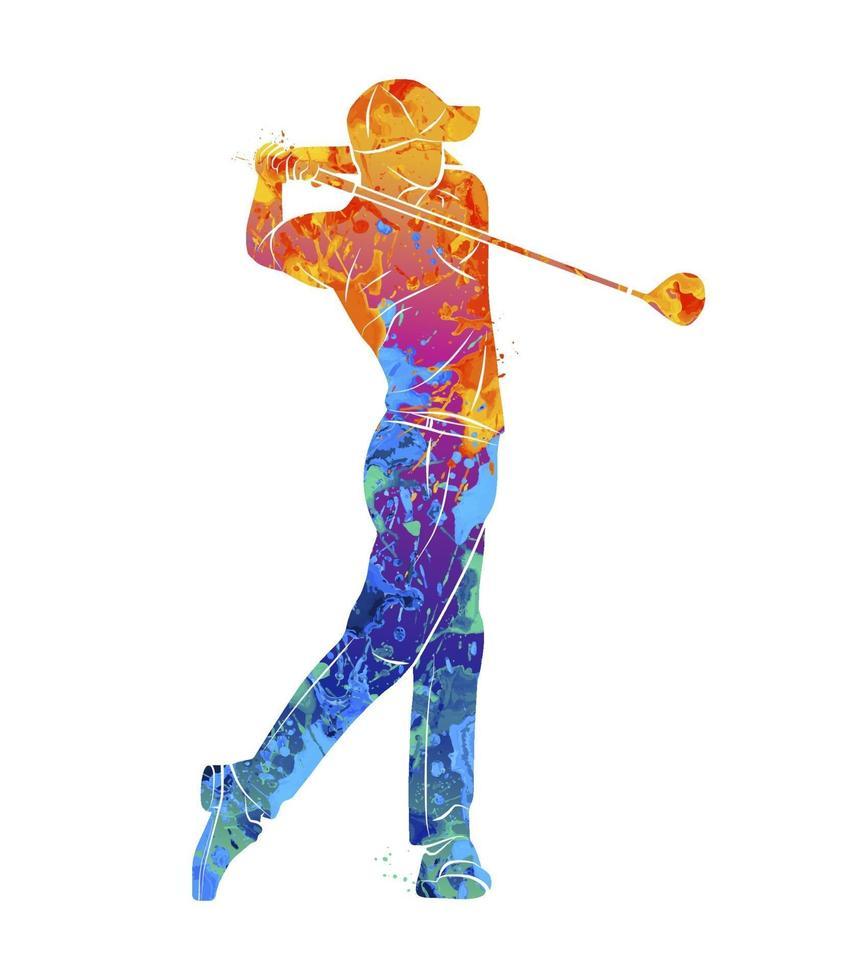 joueur de golf abstrait de splash d'aquarelles. illustration vectorielle de peintures vecteur