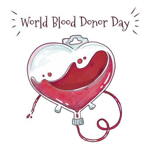 Sac de sang aquarelle à la Journée mondiale du sang vecteur