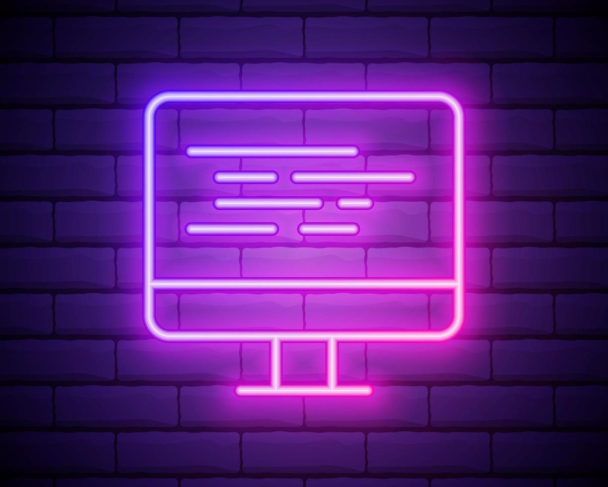 codage icône néon vecteur